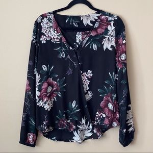 Dynamite long-sleeve blouse with gathered hem